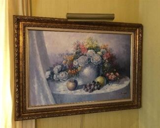 Oil Painting floral still life signed Jim Gross