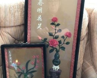 Vintage Chinese/Asian shadowbox framed art Coral and Jade