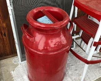 Vintage Red Milk Pail