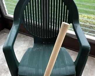 Green plastic out door chair