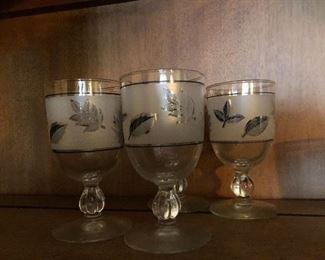 Vintage Glasses silver and gold leaf