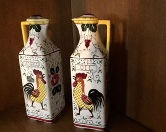 Oil and vinegar cruets with rooster motif made in Italy