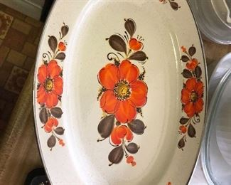 "VINTAGE Show-Pans Sanko Ware Poppies Oval Large Serving Platter 17 1/2"" x 12"""