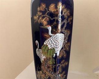 Cobalt Blue handpainted Heron vase