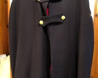 Vintage 1940's WWII Women's Nurse's Apparel Bruck's Wool Cape Dark Blue with Red Lining