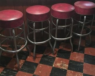 4 Vintage Red Vinyl Swivel Bar Stools w/ Chrome Legs & Foot Rail
