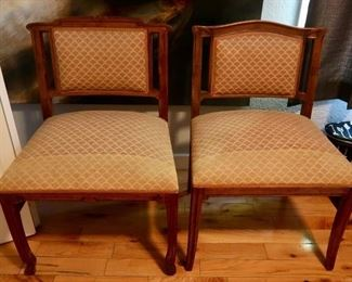 Beautiful Antique Pecan Wood Side Chairs