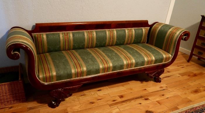 PRESALE $925.00 - American Empire style Sofa , circa 1820, mahogany veneer, lion pay feet with scrollwork, re-upholstered with period-correct silk damask fabric by restorer for Houston Museum of Art and Dallas Museum of Art. Finish is absolutely original and has never been touched.  There is a similar one in the Dayton Art Institute and in other museum collections including New York's Met.  These usually retail in the $1,800 range.  It was purcased from Neal Alford Auctions in New Orleans in 1983 for $2,000 (un-upholstered).