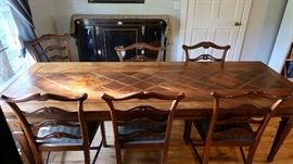 Parquetry Reflection Table and Six Mahogany Chippendale style chairs (priced separately)(Table-99 x 36 x 30)