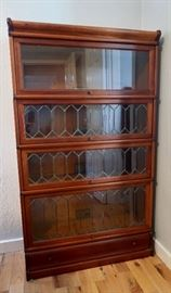 PRESALE $750.00 Barrister/Lawyers Bookcase with beautiful leaded glass and brass bands