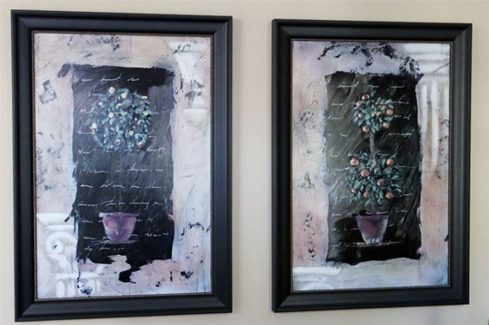 1. Pair of Decorative Paintings Framed