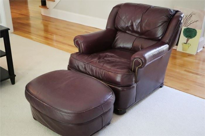 32. Leather Lounge Chair Ottoman
