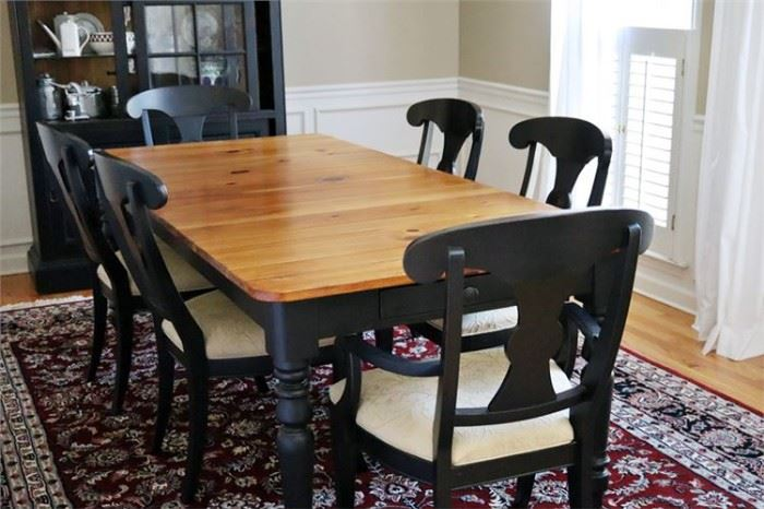 43. ETHAN ALLEN Farmhouse Dining Room Table Six 6 Chairs