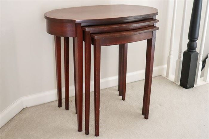 85. Set of Mersman Oval Mahogany Nesting Tables