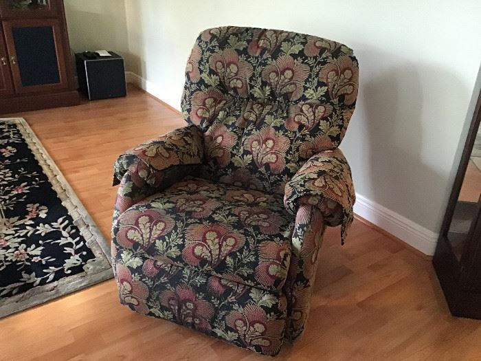 Rocker Swivel Recliner, custom made to match the pillows on sofas