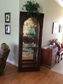 Pair of gorgeous Curio Cabinets. Fan shaped glass  panel