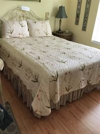 Queen Size Bed with Cream Iron Headboard