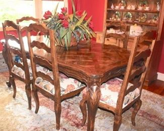 French Provincial Dining Room Table with Parquet Top and Six Chairs with Leaves/Pads