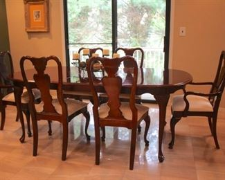 Queen Anne Dining Table and Six Chairs with Breakfront by American Drew