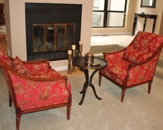 Pair of Pretty Floral Side Chairs By Kincaid with Small Round Pedestal Table