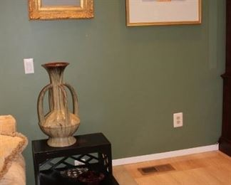 Side Table and Art with Urn