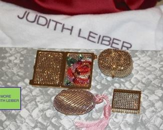 Assorted Judith Leiber Blingy Handbags, Pill Boxes and Frame