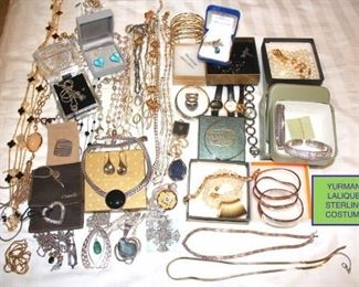 Costume Jewelry, Yurman, Judith Jack, Christofle, and Lalique Earrings