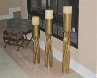 Trio of Large Floor Candle Holders and and 2 Chests with Stands