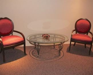 Pair of Side Chairs and Glass & Metal Round Coffee Table