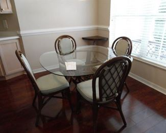 Dinette Set, Glass Top Table, Cane Base, 4 Cane Chairs with cushion seat & backs