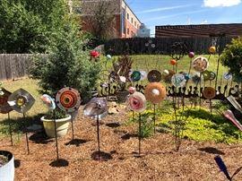 All types glass flower garden art, artist made and sold at art and craft festivals