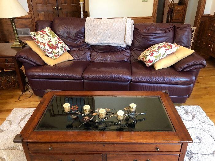 Beautiful Natuzzi leather sofa and coffee table