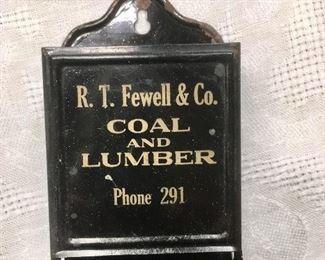 Antique tin match holder