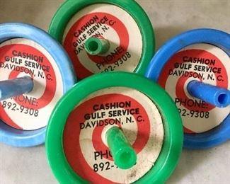 Vintage toy tops ~ former Cashion Gulf service station