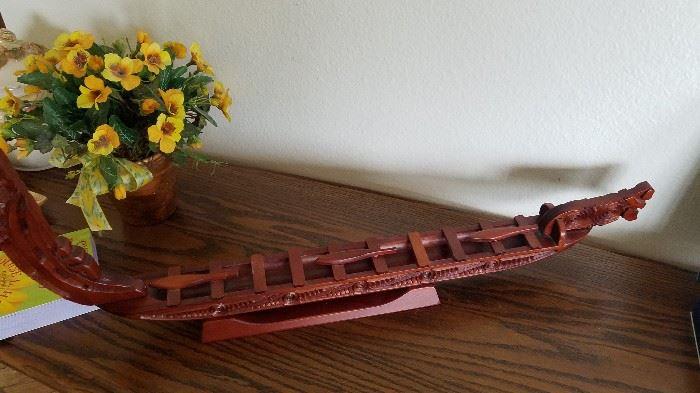 Wooden Vicking ship, hand made