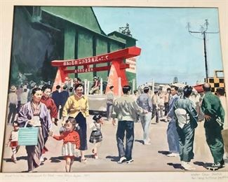 Original Water Color by Ozni Brown - Tachakawa Air Base - Near Tokyo - C. 1957 - Extensive Original Fine Art