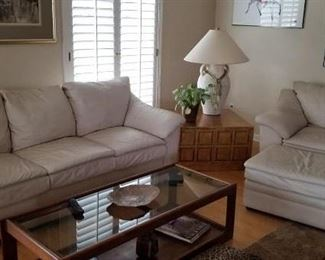 Cream Heyek's Leather Sofa and Side Chair