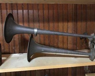 Vintage brass air horns