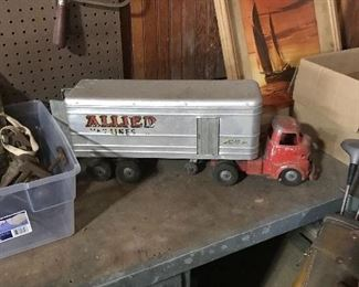 Vintage metal tractor trailer