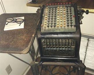 Antique Adding Machine  and Stand