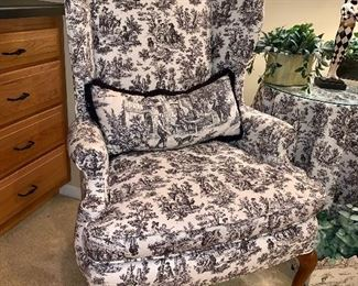 Black & white toile fabric,  Queen Anne wing back chair