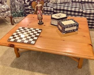 """Large, Square Knotty Pine coffee table approx. 3'6"""" X 3'6"""" -  marble chess board (no game pieces) set is a great décor addition"""