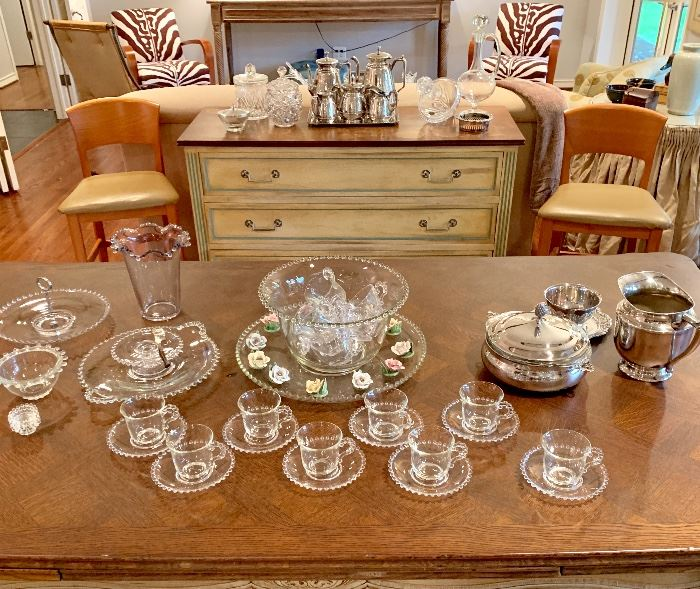Candlewick Punch Bowl Set & Serving Pieces