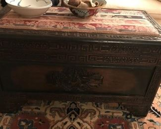 Oriental Chest with Carving