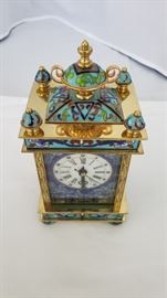 Cloisonne Carriage mantle clock