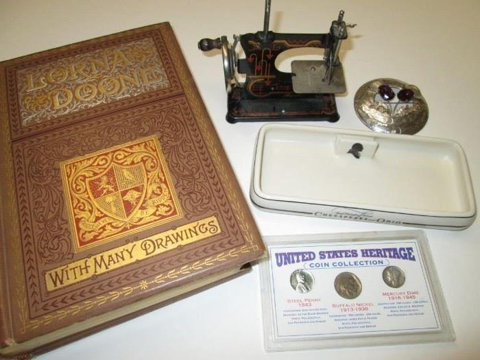 Toy sewing machine, railroad matchholder.