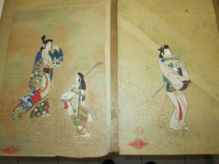 Original Japanese wood block prints.