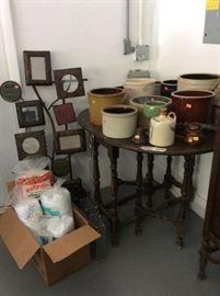 Gateleg table and miscellaneous vintage crocks!