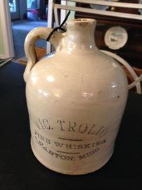 Vic Trolio jug, 1800's Canton, MS  whiskey maker
