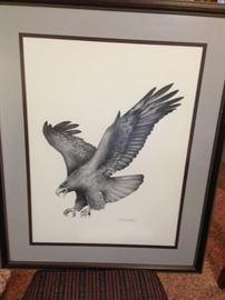 graphite print signed Mike Wharton, Mississippi artist